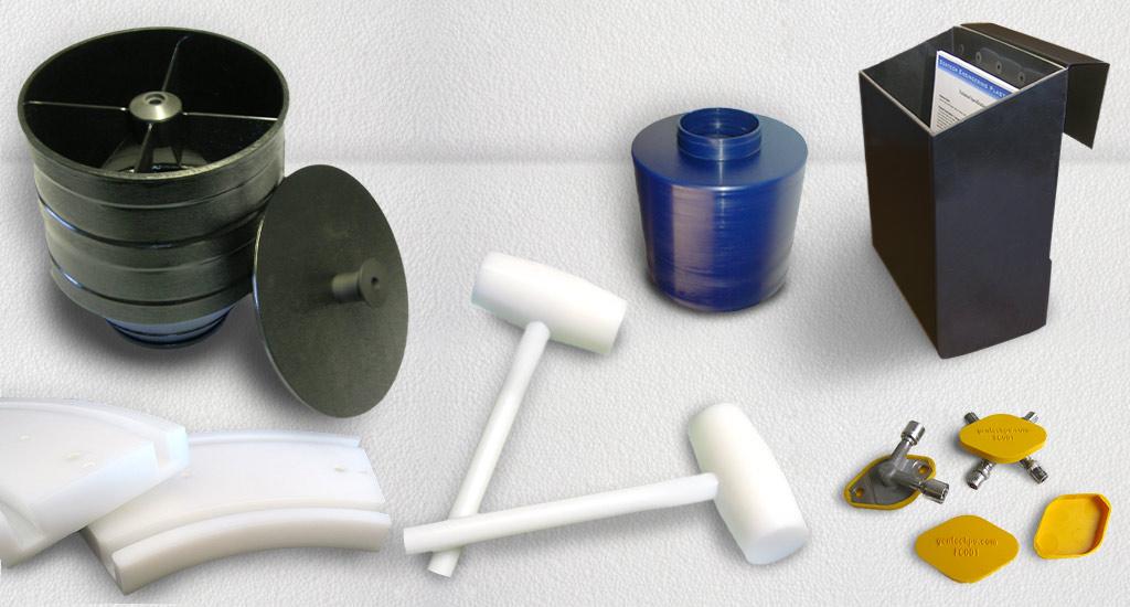 Gentech Engineering Plastic Rollers Wheels Dead Blow Hammer Bins Caps